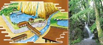 山麓宮殿の庭園イメージと現在の滝