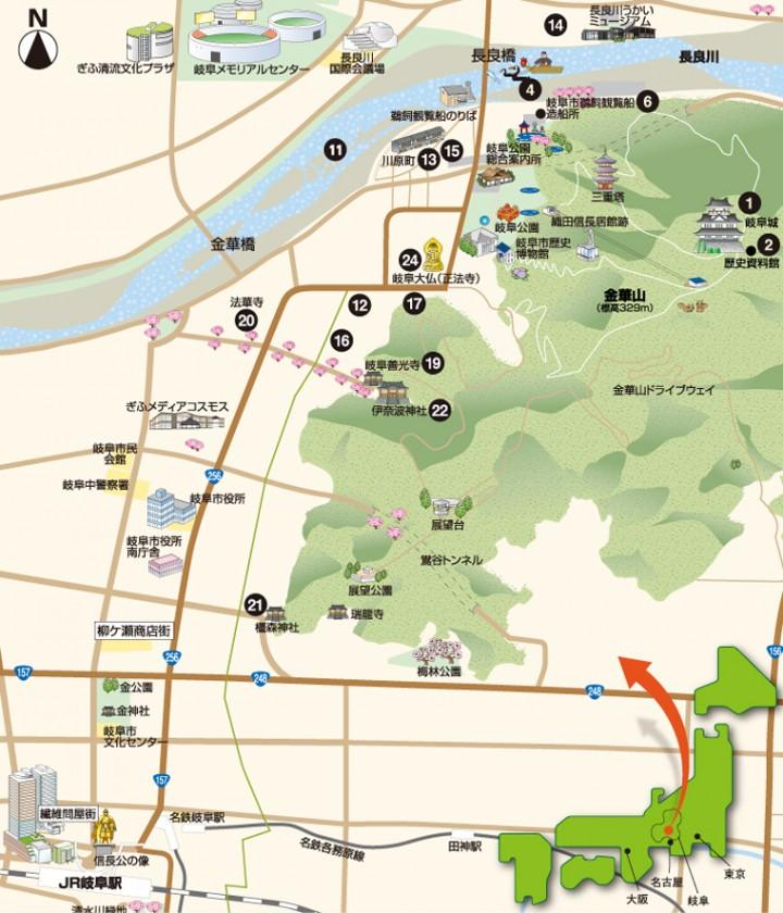 地図 岐阜の日本遺産を訪ねる
